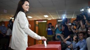 Presidential candidate Svetlana Tikhanovskaya casts her ballot in Minsk