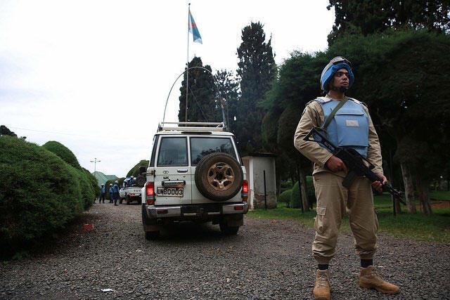 Un casque bleu égyptien assurant la sécurité des populations dans la ville de Bukavu, au Sud-Kivu le 26 novembre 2014. (Photo d'illustration)