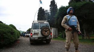 26 novembre 2014. Bukavu, Sud-Kivu, RD Congo. Casque bleu (égyptien) assurant la sécurité des populations dans la ville de Bukavu.