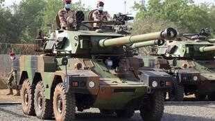 Chadien soldiers on-board an ERC 90 Sagaie light armoured vehicle given to Chad by France, in N'Djamena.