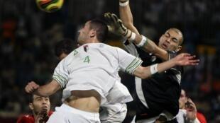 Le gardien algérien Faouzi Chaouchi, qui honorait sa 1ère sélection.