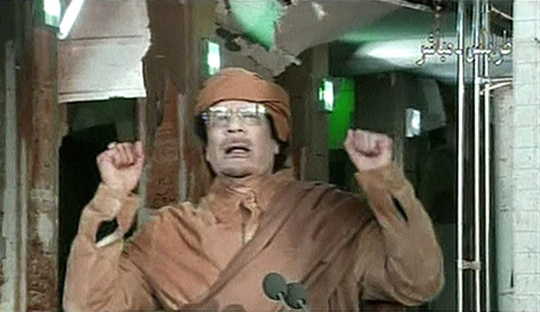 El líder libio Muamar Kadafi durante su intervención el 22 de febrero de 2011