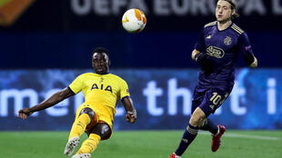 Ivory Coast star Serge Aurier (L) playing for Tottenham Hotspur against Dinamo Zagreb this month in the Europa League.
