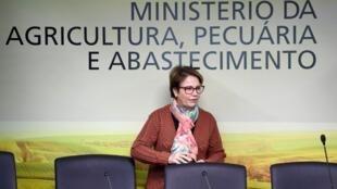 Tereza Cristina, la ministre de l'Agriculture du Brésil, lors de la conférence de presse sur la nouvelle politique sur les pesticides, à Brazilia, le 6 août 2019.