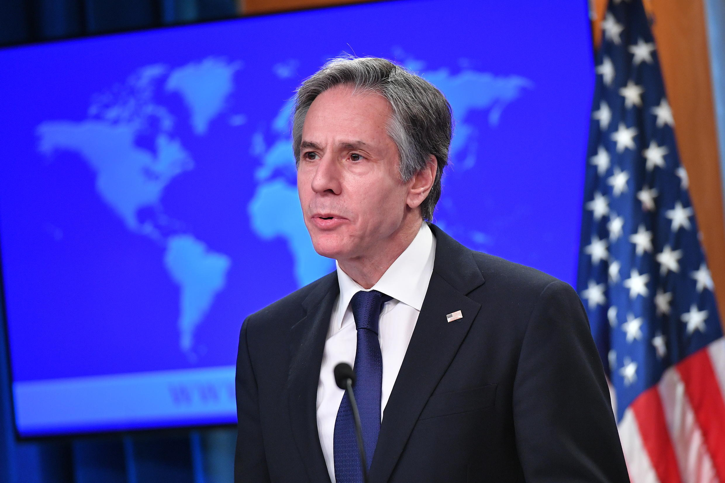 """US Secretary of State Antony Blinken, speaking in March 2021, has called on Israel to ensure """"equal"""" treatment of Palestinians"""