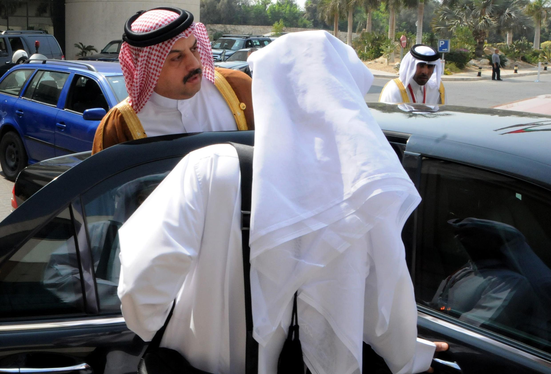 O ministre das Relações Exteriores do Catar, Khalid bin Mohammad Al Attiyah, neste domingo (12), no Cairo.