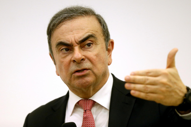 L'ancien président de Renault-Nissan, Carlos Ghosn, lors d'une conférence de presse au Syndicat de la presse libanaise à Beyrouth, le 8 janvier 2020.