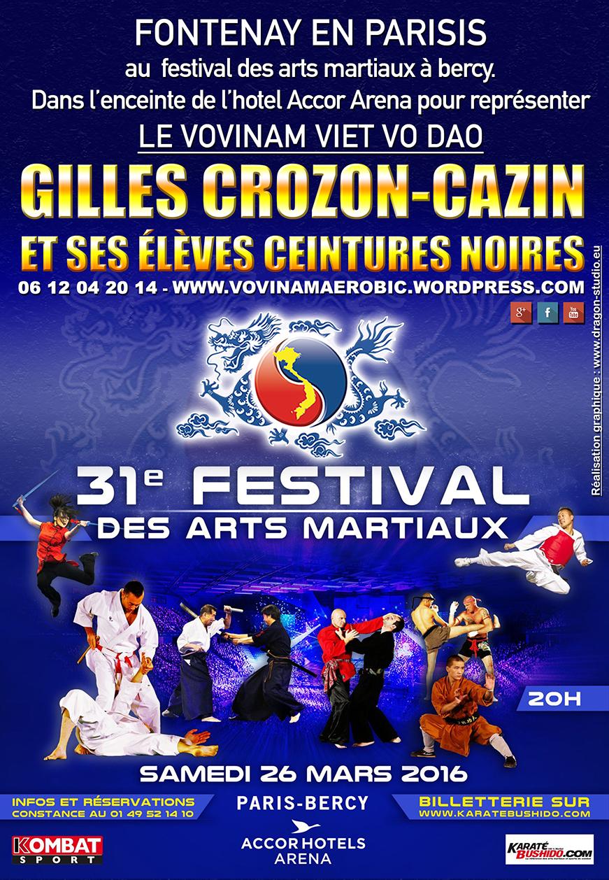 Afiche de la 31ª edición del Festival de Artes Marciales en París.