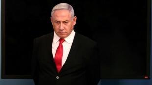 Le Premier ministre israélien Benyamin Netanyahu, peu avant un discours à Jérusalem, le 14 mars 2020.