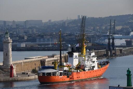 L'Aquarius à son arrivée à Marseille, le 29 juin 2018.