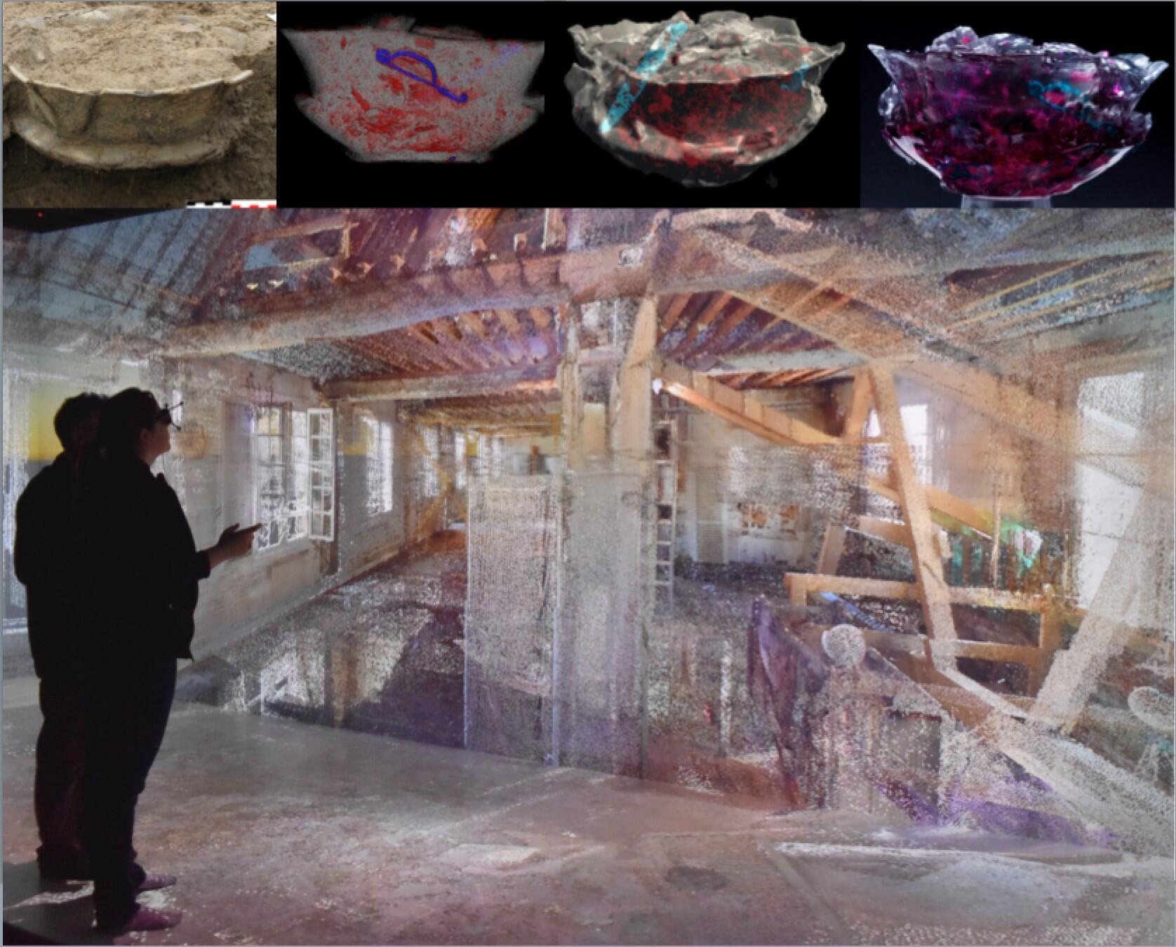 Illustration d'un travail d'étude d'une urne funéraire trouvée à Guipry par l'Inrap, par tomodensitométrie avec production d'un modèle 3D. La grande photo montre le résultat d'une numérisation par scan laser d'une ancienne salle de jeu de paume à Rennes.