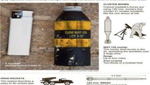 Document publié en Avril dernier,  par l'ONG Human Right Watch  et sur  Global Security.org faisant état de l'utilisation par l'armée libyenne d'armes à sous-munitions de fabrication espagnole.