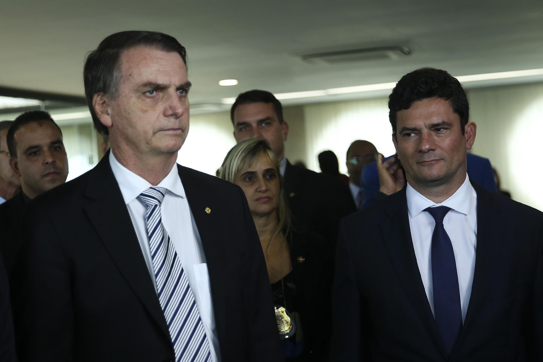 O presidente eleito, Jair Bolsonaro, e o futuro ministro da Justiça, Sérgio Moro, durante visita ao Superior Tribunal de Justiça (STJ). 07/11/18