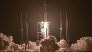 A Long March 7 rocket carrying China's Tianzhou-2 cargo craft lifts off from the Wenchang Space Launch Center in southern China's Hainan province