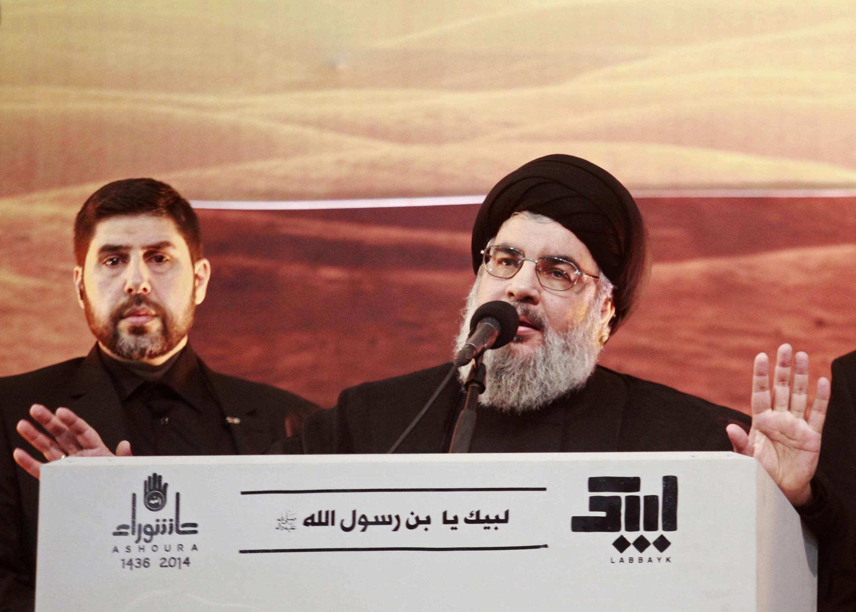 O chefe do Hezbollah, Hassan Nasrallah, em Beirute, em novembro de 2014.