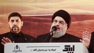 Hezbollah chief Hassan Nasrallah in Beirut, 3 novembre 2014