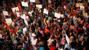 Đối lập Maldives biểu tình chống chính phủ tại thủ đô Male (Maldives) ngày 04/02/2018.