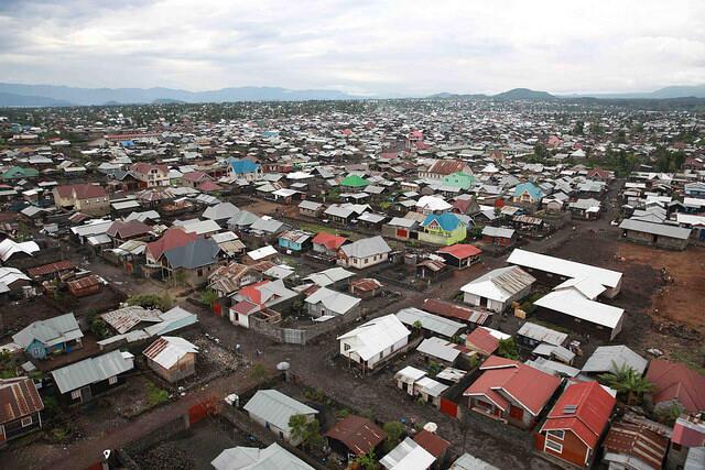 Vue aérienne de la ville de Goma.