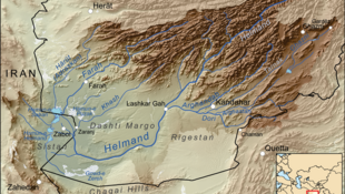 نقشه رود هیرمند و حوضه آبریز آن