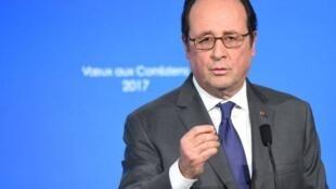 Le président de la République François Hollande lors des voeux 2017 en Corrèze.