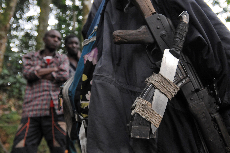 Silaha za waasi wa Kihutu wa Rwanda katika msitu karibu na mji wa Pinga, kilomita 150 kaskazini magharibi na mji wa Goma, Februari mwaka 2009.