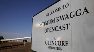 L'Entrée de la mine de charbon Optimum Kwagga en Afrique du Sud appartenant à Glencore