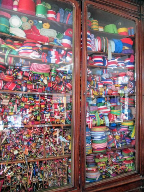 Ribbons in the window of the Bacqueville shop in central Paris.
