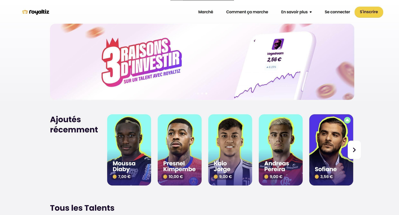 Captura de pantalla del sitio Royaltiz