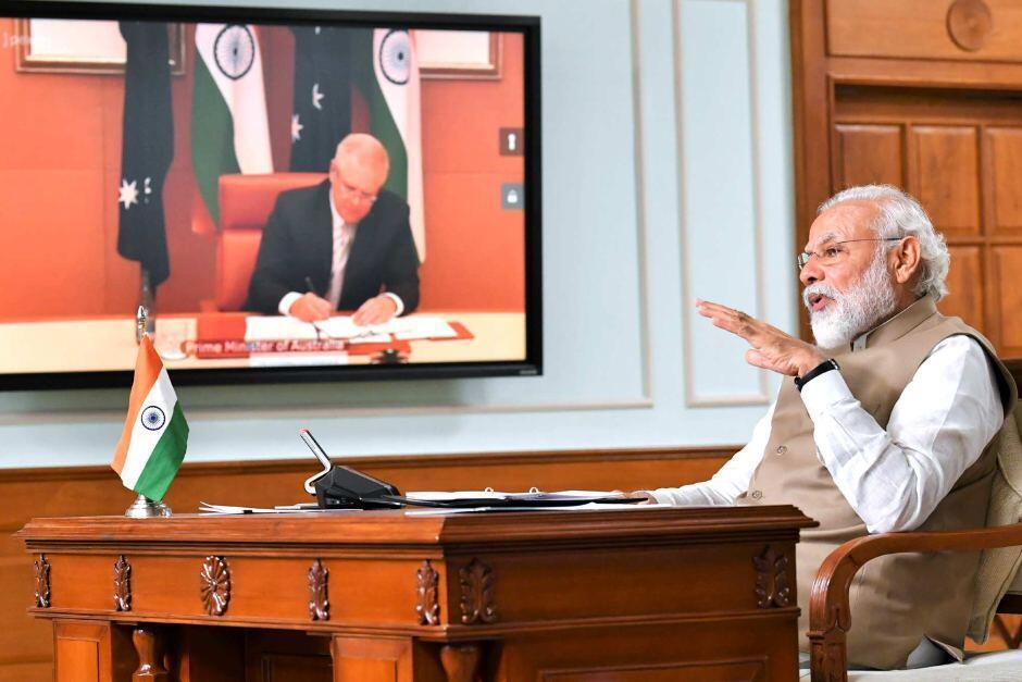印度總理莫迪與澳大利亞總理莫里森資料圖片
