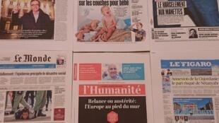 Primeiras páginas de  diários franceses  02 07 2020