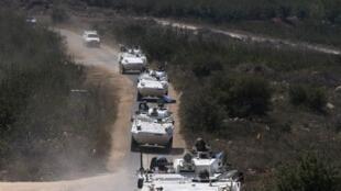 Des blindés des Nations unies sur le plateau du Golan, le 31 août 2014.