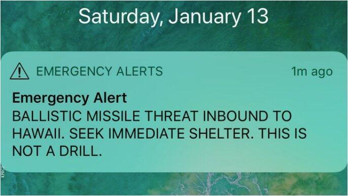 «Баллистическая ракета направляется на Гавайи. Немедленно отправляйтесь в укрытие. Это не учения»