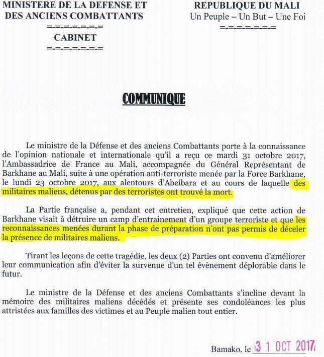 Communiqué du ministère de la Défense du Mali.