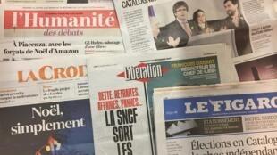 Primeiras páginas dos jornais franceses de 22/12/2017