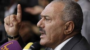 Ali Abdullah Saleh addresses supporters Friday