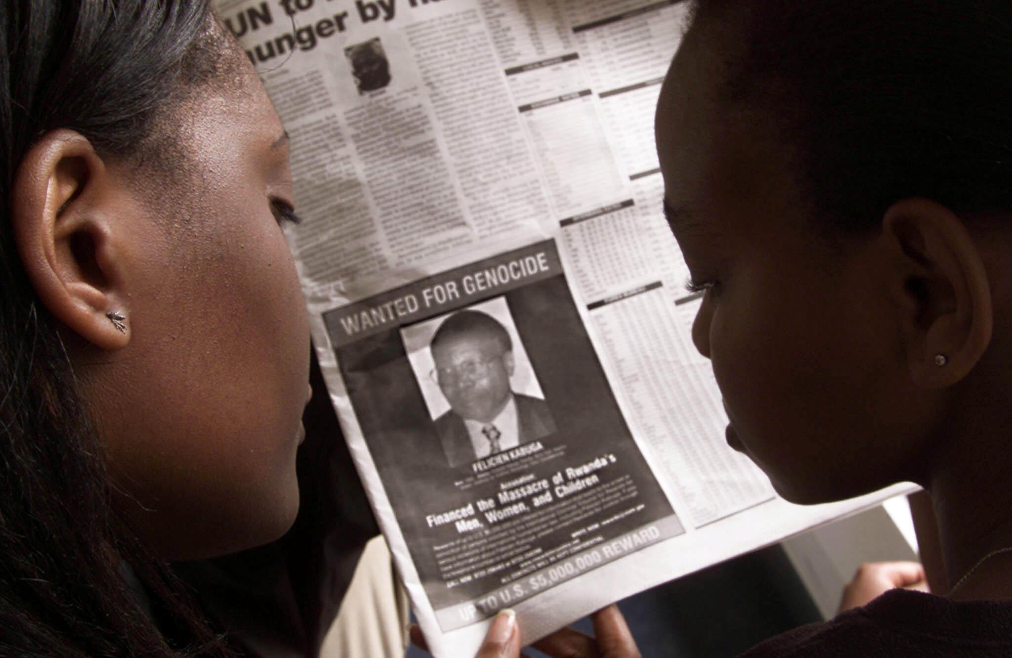 Avis de recherche de Félicien Kabuga publié dans des journaux kényans en 2002.