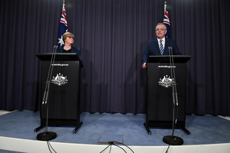 El primer ministro australiano, Scott Morrison, celebra una conferencia de prensa para hablar del ciberataque que afectó al país el 19 de junio de 2020.