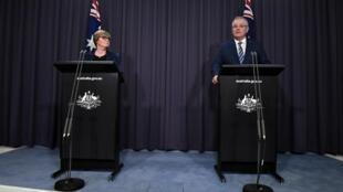 Le Premier ministre australien Scott Morrison tient une conférence de presse pour évoquer la cyberattaque qui a frappé le pays, le 19 juin 2020;