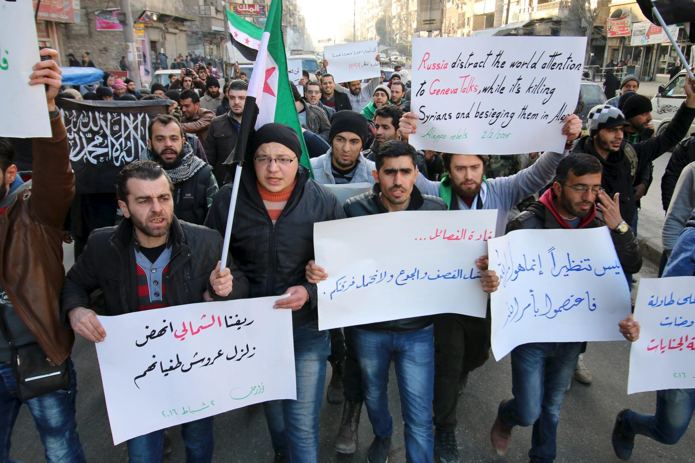 Акция протеста против российских авиаударов и наступления проправительственных войск в Алеппо, Турция, 2 февраля 2016.