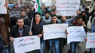 Masu zanga-zangar adawa da hare-haren Rasha a yankin Aleppo