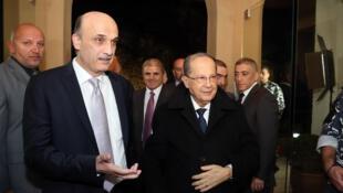 Samir Geagea (à gauche) et Michel Aoun, le 18 janvier 2016 à Beyrouth.