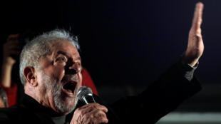 L'ex-président Lula, lors de la manifestation en sa faveur, à Sao Paulo, au Brésil en juillet 2017.