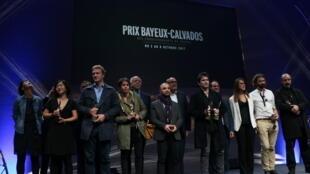 Les lauréats 2017 du prix Bayeux-Calvados des correspondants de guerre. Samedi 8 octobre 2017.