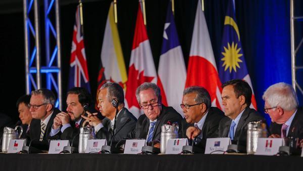 Bộ trưởng Thương Mại 12 nước tham gia TPP kết thúc đàm phán tại Atlanta. Ảnh ngày 05/10/2015.