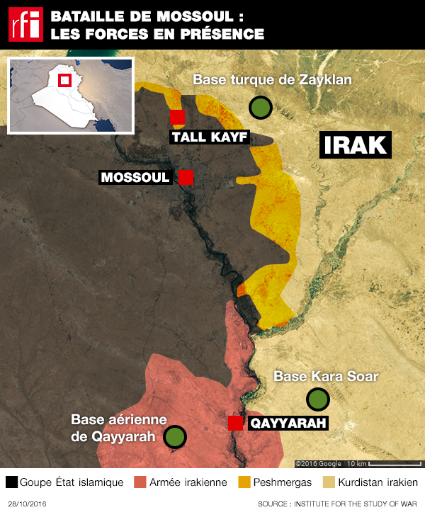 Mapa do Iraque mostrando os pontos do avanço de forças iraquianas e coligação internacional rumo a Mossul.