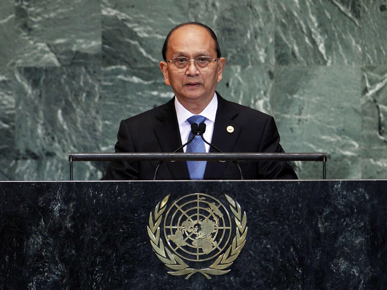 O presidente birmanês Thein Sein fala à Assembleia Geral da ONU, em Nova York