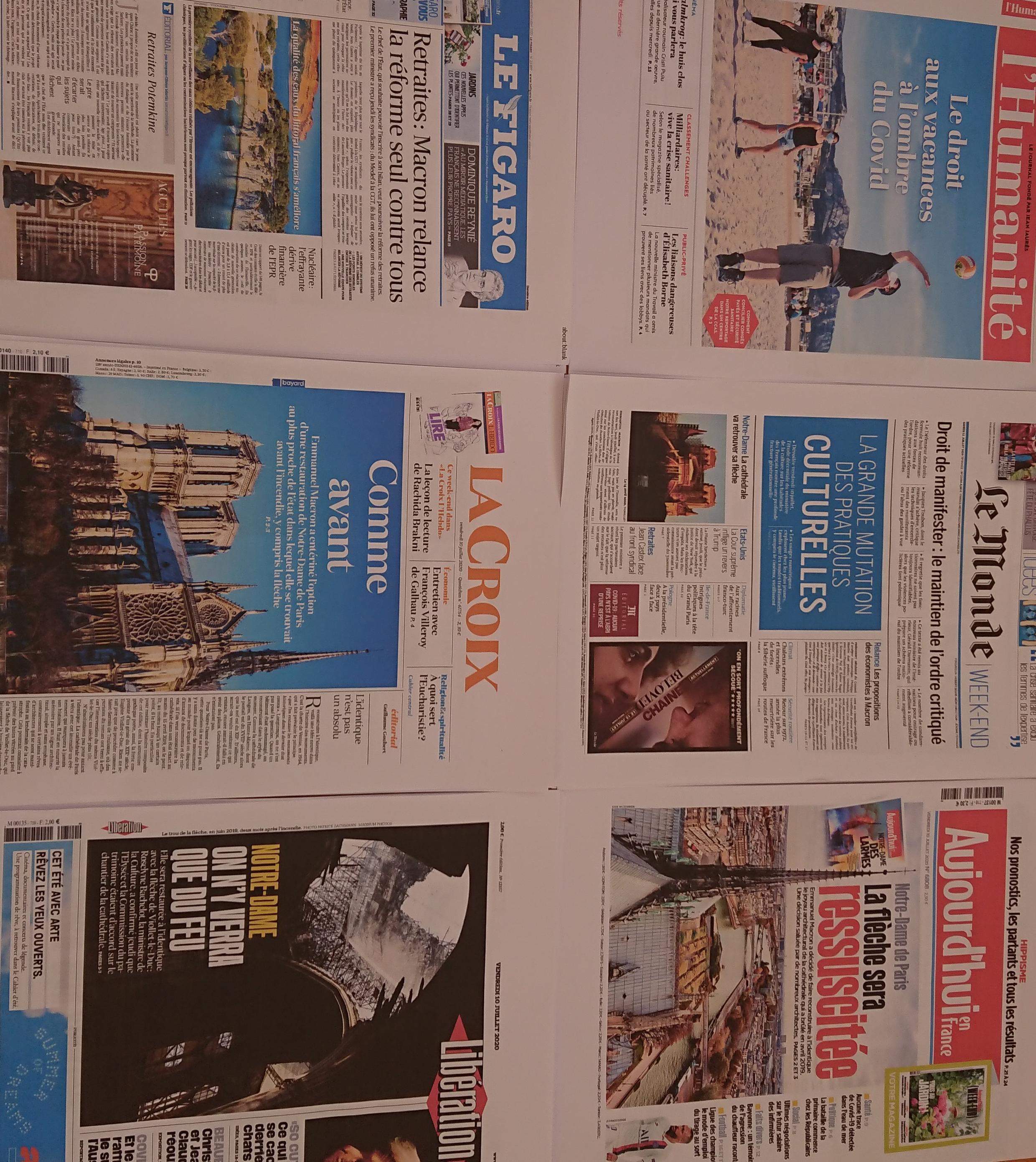 Primeiras páginas de diários franceses 10 07 2020