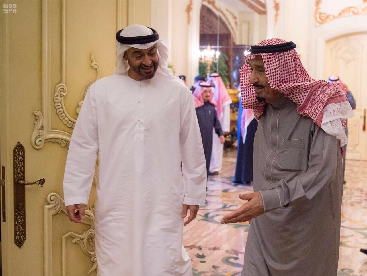 ملک سلمان پادشاه عربستان و ولیعهد ابوظبی شیخ محمد بن زائد آل نهیان