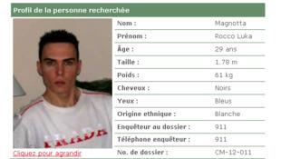 Lệnh truy nã Luka Rocco Magnotta trên trang web của cảnh sát Montréal, Canada.