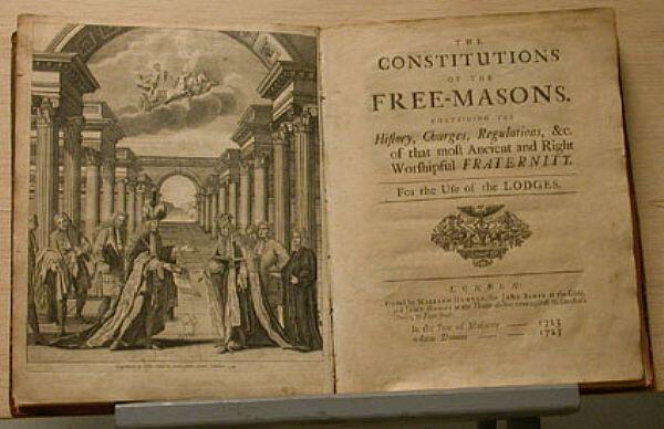 Les constitutions d'Anderson, ouvrage fondateur de la franc-maçonnerie dite moderne spéculative.